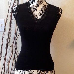 Bebe black on black stripe stretch knit v-neck top